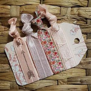 Accessories - Set of 4 Hair Ties - Floral Rose Gold Paris
